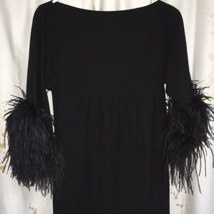 Vintage formal black dress, feathered sleeves